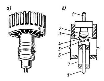 Внешний вид и устройство металлокерамического генераторного триода. 1 — штифт для навинчивания радиатора анода; 2 — анод; 3 — сетка; 4 — катод; 5 — подогреватель; 6 — вывод сетки; 7 —  вывод катода и подогревателя; 8 — вывод подогревателя