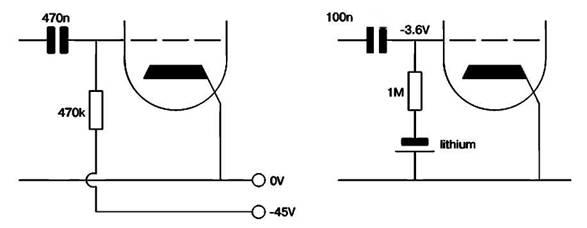 Внешнее сеточное смещение с использованием вспомогательного источника   питания или литиевого аккумулятора