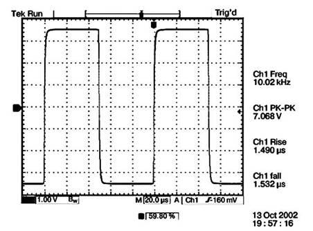 Малые искажения на прямоугольном испытании соответствуют достаточно  равномерной амплитудно-частотной характеристике