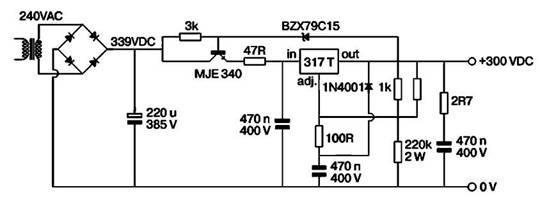 Практическая схема источника стабилизированного напряжения на 300 В